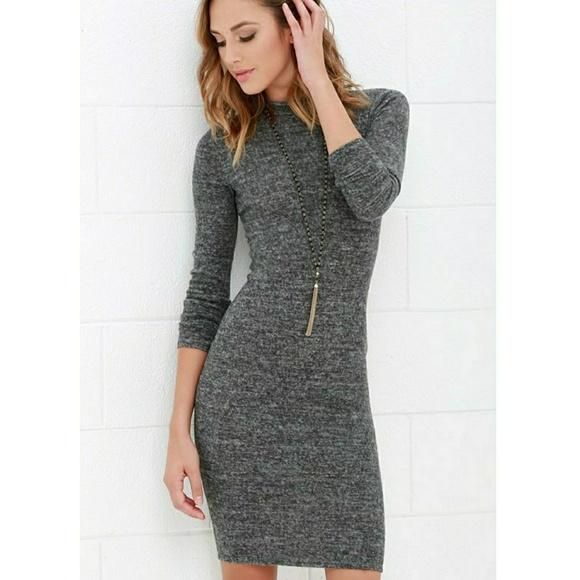27757196aaa Lulu s Dresses   Skirts - Lulu s grey marl bodycon midi sweater dress